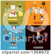 Clipart Of Flat Cuisine French And Fashion Designs Royalty Free Vector Illustration