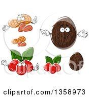 Clipart Of Peanuts Coconuts And Coffee Berries Royalty Free Vector Illustration