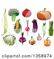 Clipart Of Cartoon Vegetables Royalty Free Vector Illustration