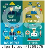 Clipart Of Flat Banker Postman Taxi Driver And Sailor Occupation Designs Royalty Free Vector Illustration