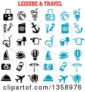 Clipart Of Blue And Black Leisure And Travel Icons With Text Royalty Free Vector Illustration