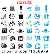 Clipart Of Blue And Black Shopping Icons With Text Royalty Free Vector Illustration by Vector Tradition SM