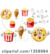 Clipart Of Cartoon Faces Hands Pizzas Chicken Drumsticks Popcorn And French Fries Royalty Free Vector Illustration