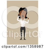 Clipart Of A Flat Design Black Business Woman Shouting And Talking On A Smart Phone On A Tan Background Royalty Free Vector Illustration