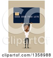 Clipart Of A Flat Design Black Business Woman Holding Up A Credit Card With A Smart Chip On A Tan Background Royalty Free Vector Illustration by Vector Tradition SM