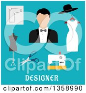 Clipart Of A Flat Design Male Fashion Designer With A Sewing Machine Tailor Mannequin Scissors And Accessories Over Text On Blue Royalty Free Vector Illustration by Vector Tradition SM
