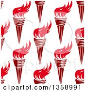 Clipart Of A Seamless Pattern Background Of Red Torches Royalty Free Vector Illustration