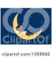 Clipart Of A Flat Design Black Business Woman Sleeping On A Crescent Moon On A Blue Background Royalty Free Vector Illustration by Vector Tradition SM