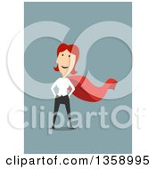 Clipart Of A Flat Design Red Haired White Woman Super Hero On A Blue Background Royalty Free Vector Illustration