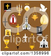 Clipart Of Flat Design Religious Christian And Catholic Icons On Brown Royalty Free Vector Illustration