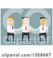 Clipart Of Flat Design White And Asian Business Men Shaking Hands On A Blue Background Royalty Free Vector Illustration