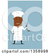 Flat Design Happy Black Male Chef Holding A Ladel On A Blue Background