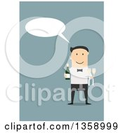 Clipart Of A Flat Design Talking White Male Waiter Holding Champagne On A Blue Background Royalty Free Vector Illustration by Vector Tradition SM