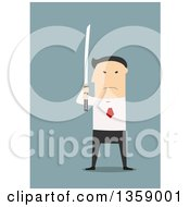 Clipart Of A Flat Design Angry Asian Business Man Holding A Katana Sword Royalty Free Vector Illustration