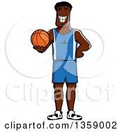 Cartoon Grinning Black Basketball Player Holding A Ball