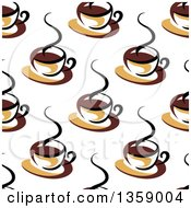 Clipart Of A Seamless Background Pattern Of Steamy Brown Coffee Cups Royalty Free Vector Illustration