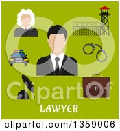 Flat Design Judge Lawyer And Profession Icons Over Text On Green
