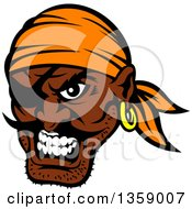 Clipart Of A Cartoon Tough Black Male Pirate Wearing An Eye Patch And An Orange Bandana Royalty Free Vector Illustration
