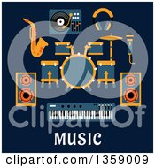 Clipart Of A Flat Design Drum Set Sax Headphones Microphone Speakers Keyboard And Record Player Over Text On Blue Royalty Free Vector Illustration