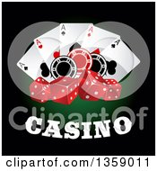 Clipart Of A Casino Design With Playing Cards Poker Chips And Dice Royalty Free Vector Illustration