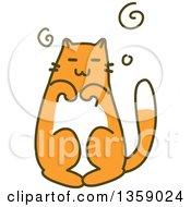 Sketched Ginger Cat Begging