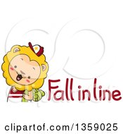 Clipart Of A Lion Student With Fall In Line Text Royalty Free Vector Illustration