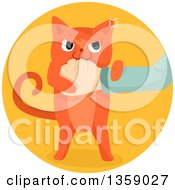 Clipart Of A Mad Ginger Cat Biting A Hand In A Circle Royalty Free Vector Illustration