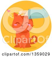 Clipart Of A Hand Petting A Happy Ginger Cat In A Circle Royalty Free Vector Illustration