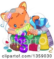 Clipart Of A Cute Ginger Cat Playing In A Sewing Basket Royalty Free Vector Illustration