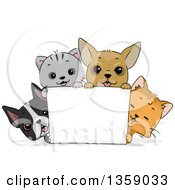 Clipart Of Cute Cats And Puppy Dogs Around A Blank Sign Royalty Free Vector Illustration