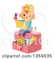 Clipart Of A Ginger Cat Sitting On A Chest Wearing A Crown And Cutting Pieces Of Paper Royalty Free Vector Illustration