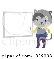 Clipart Of A Gray Tabby Cat Teacher Pointing To A White Board Royalty Free Vector Illustration by BNP Design Studio