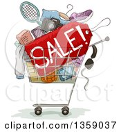 Clipart Of A Sketched Shopping Cart With Products And A Sale Sign Royalty Free Vector Illustration