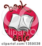 Sketched Round Book Sale Icon With An Open Book