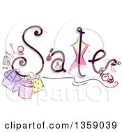 Clipart Of A Sales Text Design With Sketched Cosmetics And Accessories Royalty Free Vector Illustration