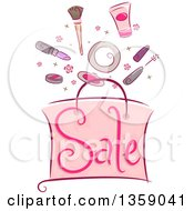 Clipart Of A Sketched Pink Sale Shopping Bag With Cosmetics Royalty Free Vector Illustration
