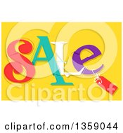 Clipart Of A Tag On Colorful Sale Text Over Yellow Royalty Free Vector Illustration