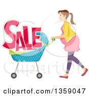 Clipart Of A Brunette Caucasian Pregnant Woman Pushing A Stroller With Sale Text Royalty Free Vector Illustration
