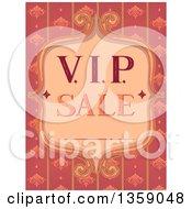 Clipart Of A Vintage VIP Sale Frame Over Pink Floral Stripes Royalty Free Vector Illustration