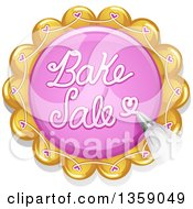 Clipart Of A Bake Sale Design Of Frosting On A Cookie Royalty Free Vector Illustration