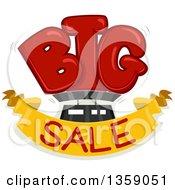 Clipart Of A Cartoon BIG Sale Design Royalty Free Vector Illustration
