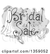 Clipart Of A Grayscale Bridal Sale Design With Flowers Gloves Shoes And A Veil Royalty Free Vector Illustration