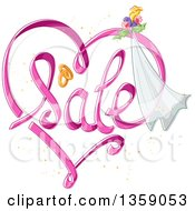 Clipart Of A Heart Shaped Sale Design With Wedding Bands Flowers And A Veil Royalty Free Vector Illustration