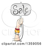 Clipart Of A Hand With Bracelets Holding Up A Sale Sign Royalty Free Vector Illustration
