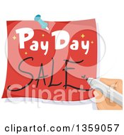 Clipart Of A Hand Writing Pay Day Sale On A Note Royalty Free Vector Illustration