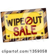 Clipart Of A Hazard Stripes Wipe Out Sale Royalty Free Vector Illustration