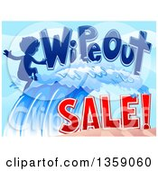 Clipart Of A Wipeout Sale Design With A Boy Surfer Riding A Wave Royalty Free Vector Illustration by BNP Design Studio