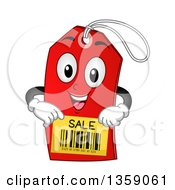 Clipart Of A Red Tag Character Showing A Sale Bar Code Royalty Free Vector Illustration by BNP Design Studio
