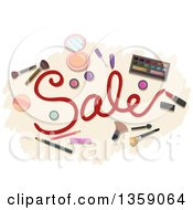 Clipart Of A Sale Design With Cosmetics Royalty Free Vector Illustration