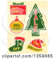 Clipart Of Christmas Sales Labels On Beige Royalty Free Vector Illustration by BNP Design Studio